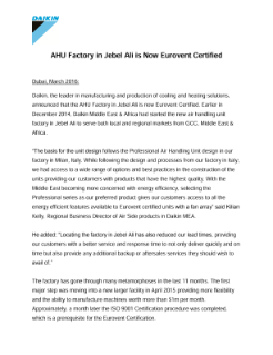 AHU factory in Jebel Ali is Now Eurovent Certified-EN